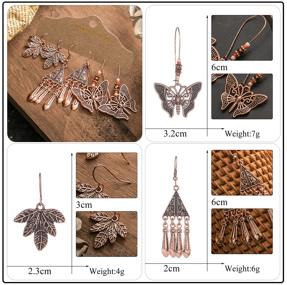 Ethnic Rose Gold Metal Tassel Fringe Womens Earrings Sets Jewelry Bohemia Vintage Round Circle Leaf Butterfly Geometric Drop Earrings Dropshipping Wholesale (9)