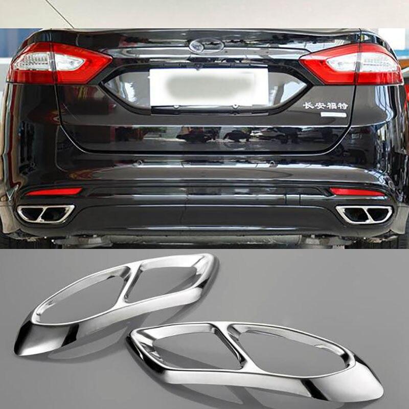 Para ford mondeo/fusion sedan 2013-2018 traseira do carro duplo escape silenciador final tubo adesivos capa guarnições acessórios de aço inoxidável
