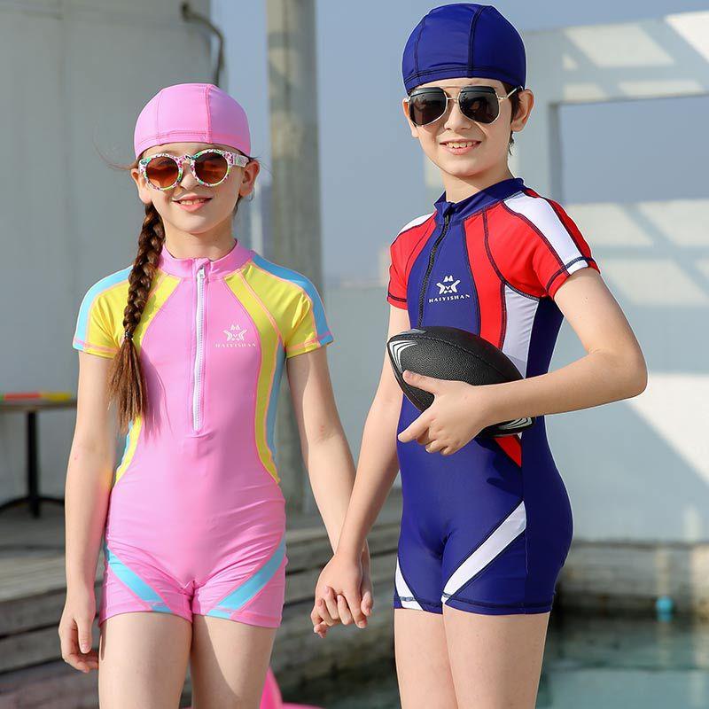 KID'S Swimwear Medium-small Boy Large Girls One-piece Half Sleeve Boxer Sun-resistant Quick-Dry Diving Suit Students Tour Bathin