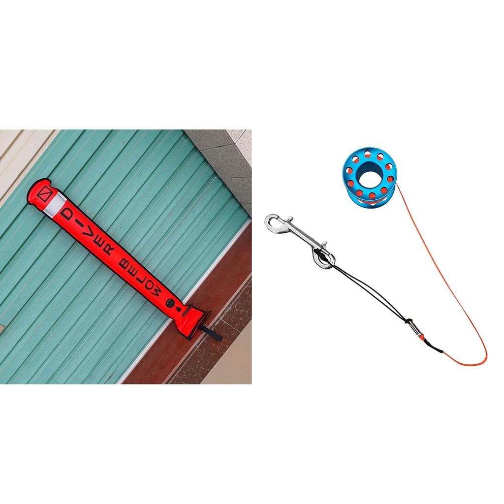 Tubo de señal de boya marcador de superficie SMB de buceo con carrete de buceo equipo de engranaje de seguridad-Varios Colores - 3