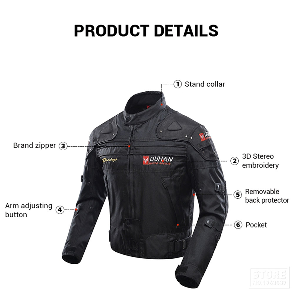 DUHAN coupe-vent Moto course costume équipement de protection armure Moto veste + Moto pantalon Hip protecteur Moto vêtements ensemble - 4