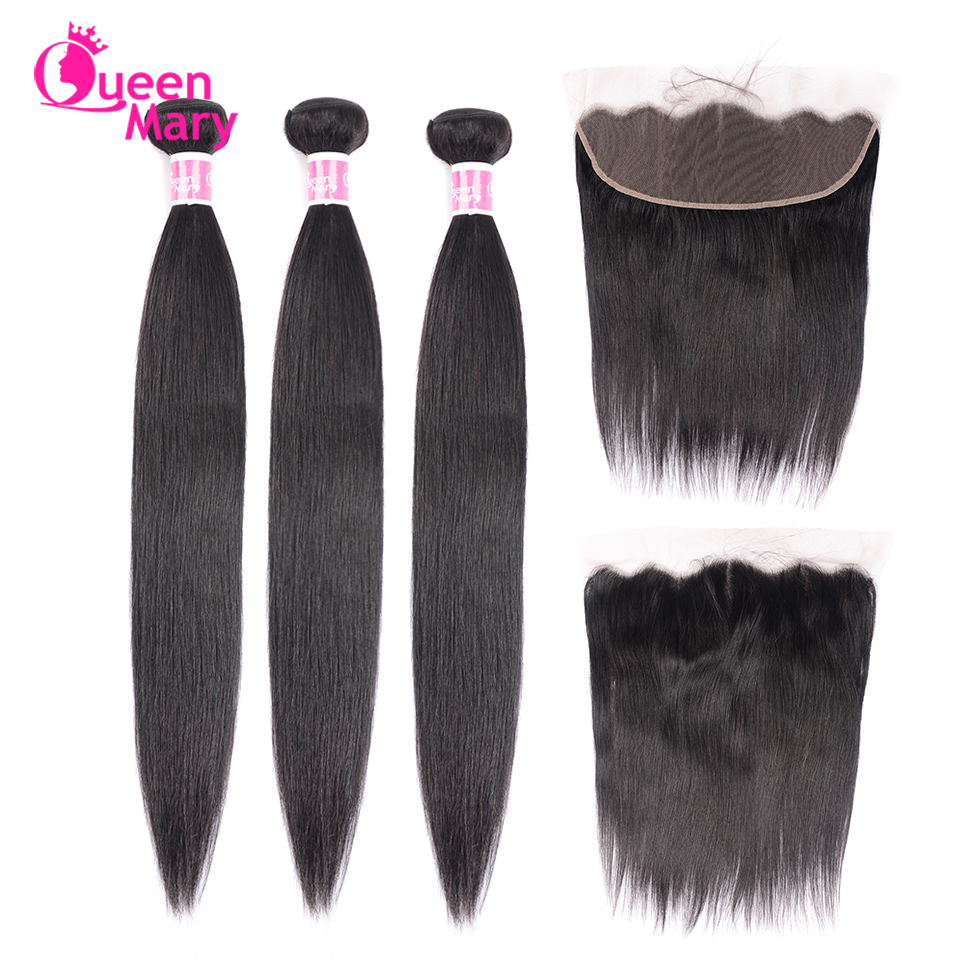 Brazilian Straight Hair Bundles With Frontal 100% Human Hair Frontal With Bundles 13x4 Lace Frontal Closure Non Remy Queen Mary