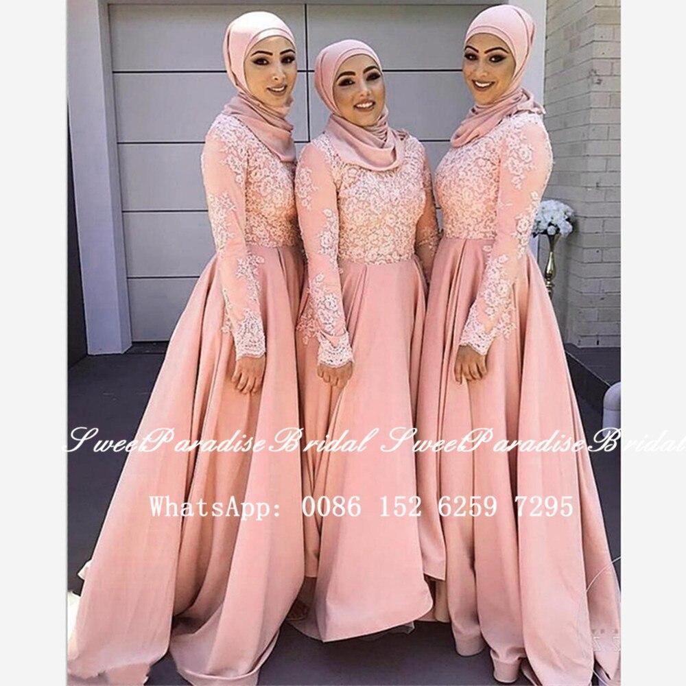 Vestidos de Dama de Honra com Mangas Vestido de Festa de Casamento Blush Rosa Laço Muçulmano Compridas Apliques 2020 Árabe Dubai Feminino Uma Linha