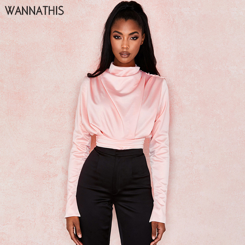 WannaThis Pink Stand Collar Long Sleeve Soft Satin Blouse Women Cropped Fashion Elegant Hollow Out Back Slim Waist Ruched Blouse