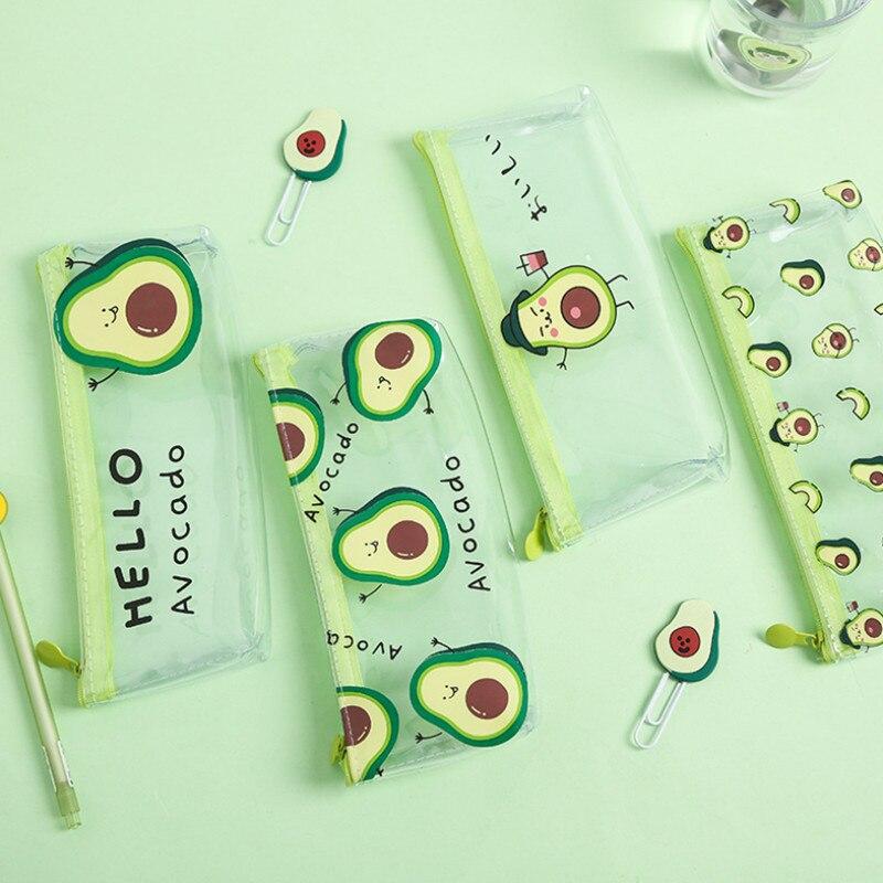Creative Cute Avocado Pencil Case Transparent Simple Portable Large Capacity Storage Bag Pencil Case School Supplies Stationery