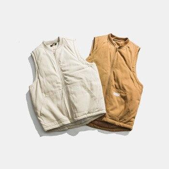 2019 Autumn New Korean Version Of The Plus Size Velvet Loose Two-color Multi-pocket Tooling Wild Casual Men's Cotton Vest