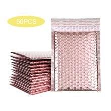 Enveloppes rembourrées en mousse auto-scellante, 50 pièces, enveloppes d'expédition avec bulles, sacs cadeaux, Rose or