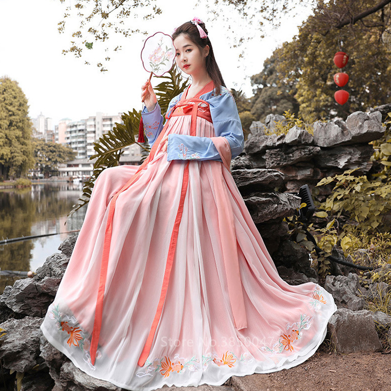 Hanfu Fairy Cosplay Traditional Chinese Costume for Women Vintage Tang Suit Ancient Chinese Style Emboridery New Year Clothes
