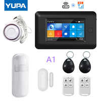 YUPA 4.3inch Full Touch Screen 433MHz Wireless WIFI GSM Home Burglar Security Alarm System With Motion Sensor PIR Door Detectors