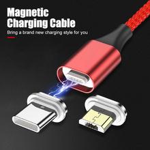 Magnetyczny przewód ładujący rodzaj usb C przewód dla Huawei Xiaomi Samsung 3A przewód szybkoładujący magnetyczna ładowarka kable telefoniczne tanie tanio CASPTM Nylon USB A Typu C Złącze ze stopu Magnetyczne Aluminum Plug + Cotton Weave Cable Fast Charging cable for TYPE-C Phone