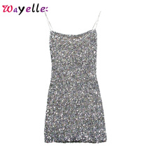 Sequined Spaghetti Strap 2019 Sexy Strapless Solid Chic Mini Dress Women Elegant Party Summer Bling Short
