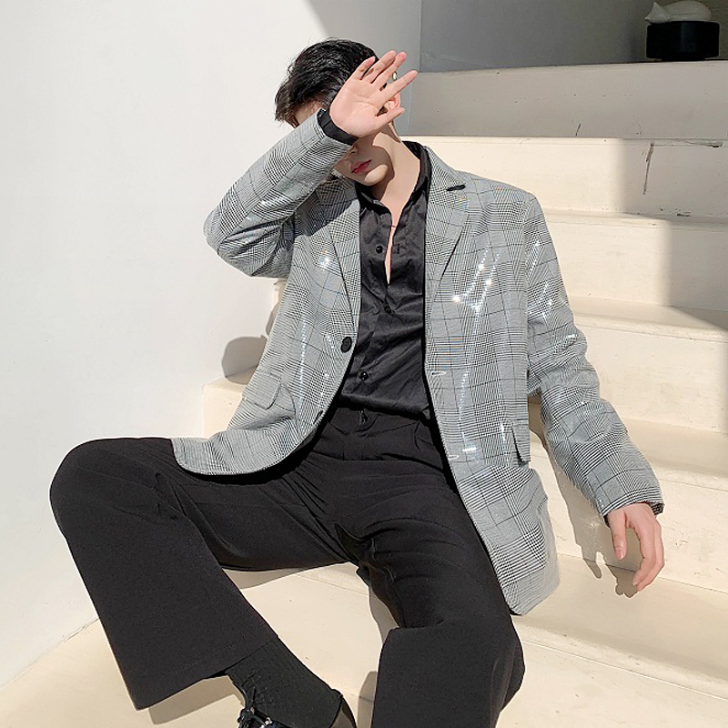 EWQ / Men's And Women's Wear Korean Vintage Fashion Grey Plaid Blazers 2020 Spring New Oversize Loose Shining Suit Tide 9Y1370