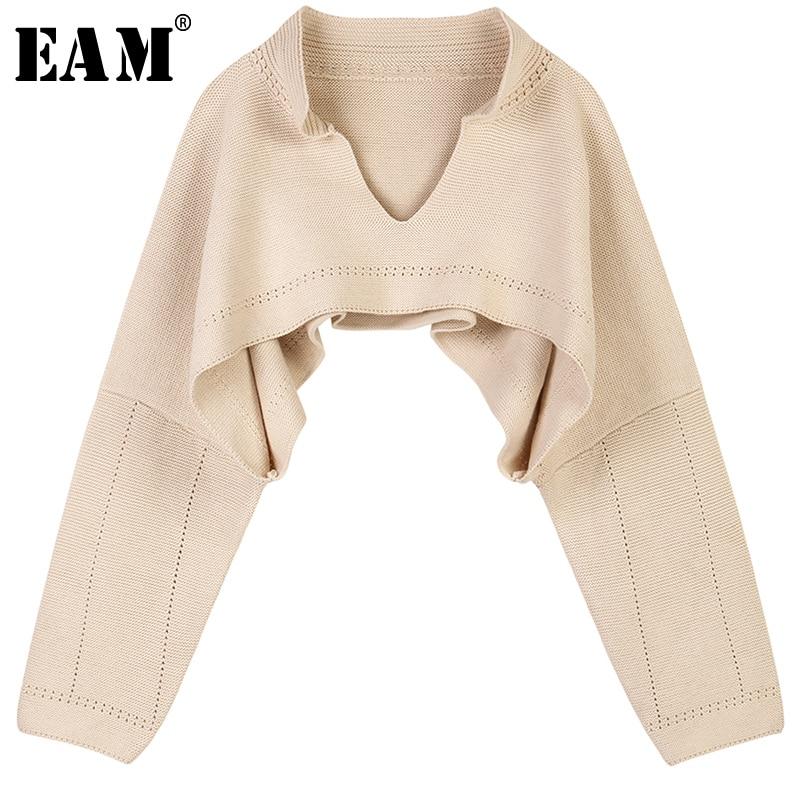 [EAM] 2019 New Spring Winter V-collar Long Sleeve Black Spit Joint Striped Irregular Hem Knitting Sweater Women Fashion JL658