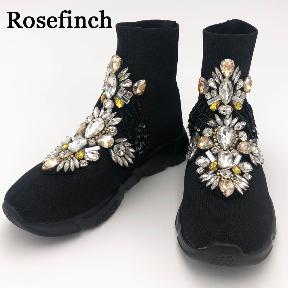 Fashion Sneakers Crystal Black Shoes Sneakers Rhinestone Shoes Bling Bling Winter Women Sneakers Shoes for Girls Women WK103 image