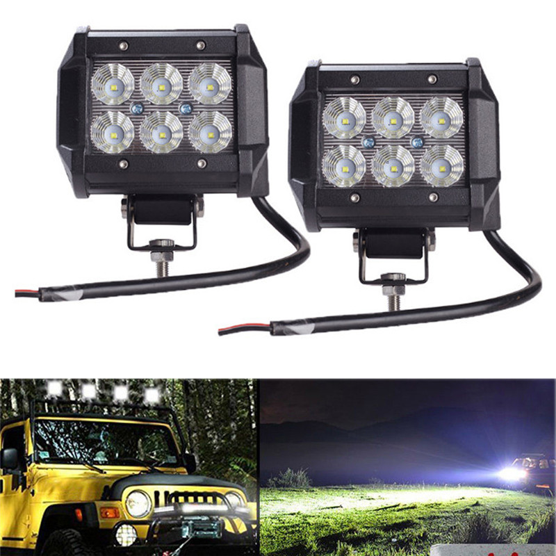 4Inch LED Work Light Bar Spot Beam 36W 2200LM White 2PCS for Motorcycle Boat Off