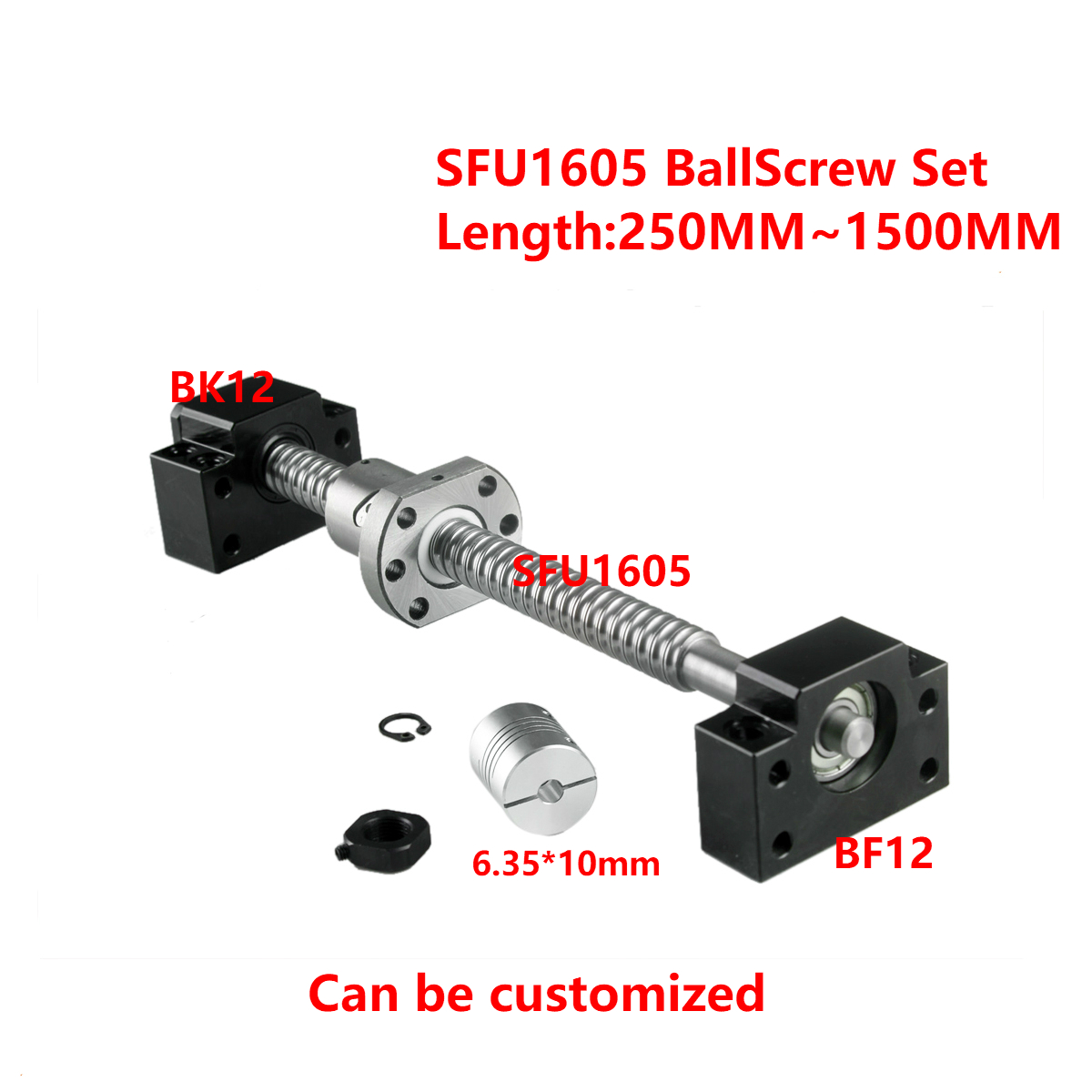 Vis à billes SFU1605-250 300 350 400 450 500 600 650 700 900 1000mm Fin Machine & BK12 BF12 + 6.35x10mm Coupleur Ensemble