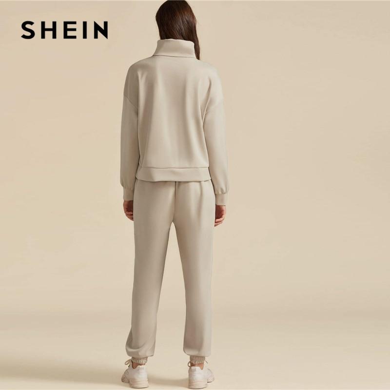 SHEIN Khaki Solid High Neck Sweatshirt And Drawstring Waist Sweatpant Suit Set Autumn Active Wear Drop Shoulder Casual Outfits 2