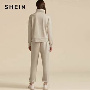 Image 2 - SHEIN kaki solide col haut sweat et cordon taille pantalon de survêtement ensemble automne vêtements actifs goutte épaule tenues décontractées