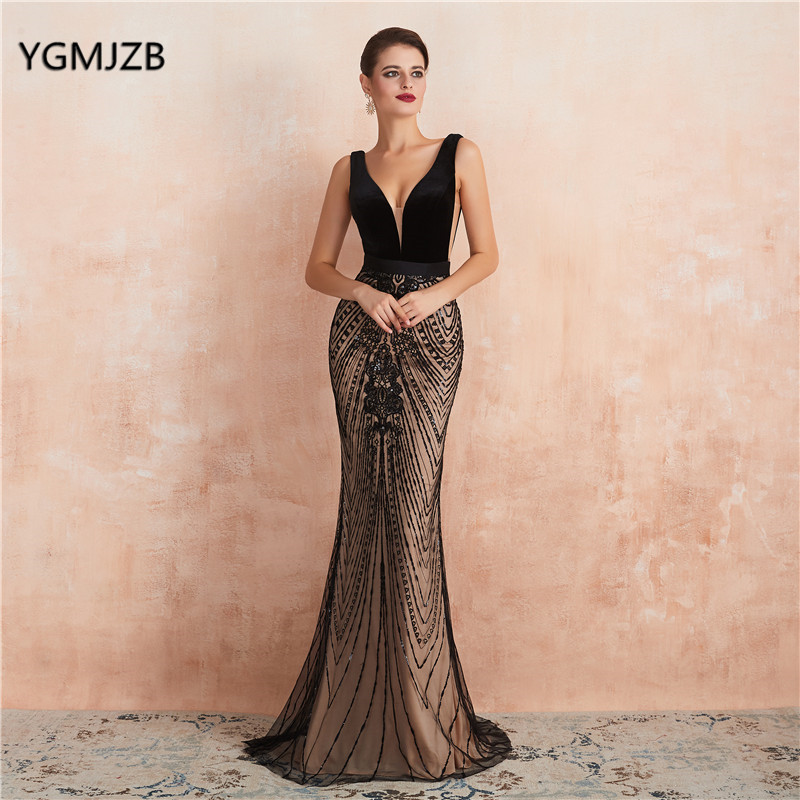 Sexy Backless Sequin   Evening     Dress   Long 2019 Mermaid V Neck Black Elegant Formal   Dress   Prom Party Gown Robe De Soiree