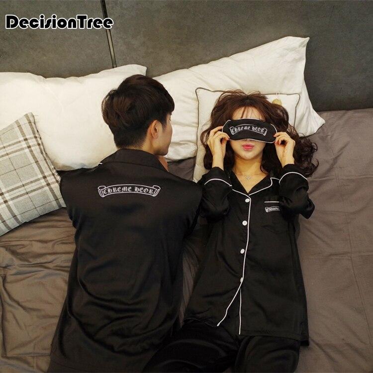 2020 Pijama Hombre Silk Men Pijamas Sets Sleep Solid Satin Sleepwear Men Suit Full Sleeve Silk Pyjama Men Couple Pajamas
