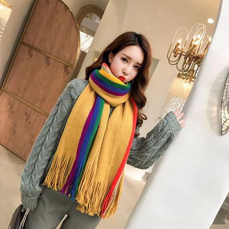 Faux Cashmere Scarf Women Long Student Korean Rainbow Bib Thicken Warm Winter Poncho Solid Tassel Stole Tippet Female Scarves