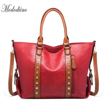 Mododiino Rivet Handbag Women Bag PU Leather Crossbody Bag New Elegant Shoulder Bag Women's Tote Purse Women Handbag Red DNV1200 naivety tassel pu leather handbag women shoulder bag rivet crossbody messenger phone purse 30s61212 drop shipping