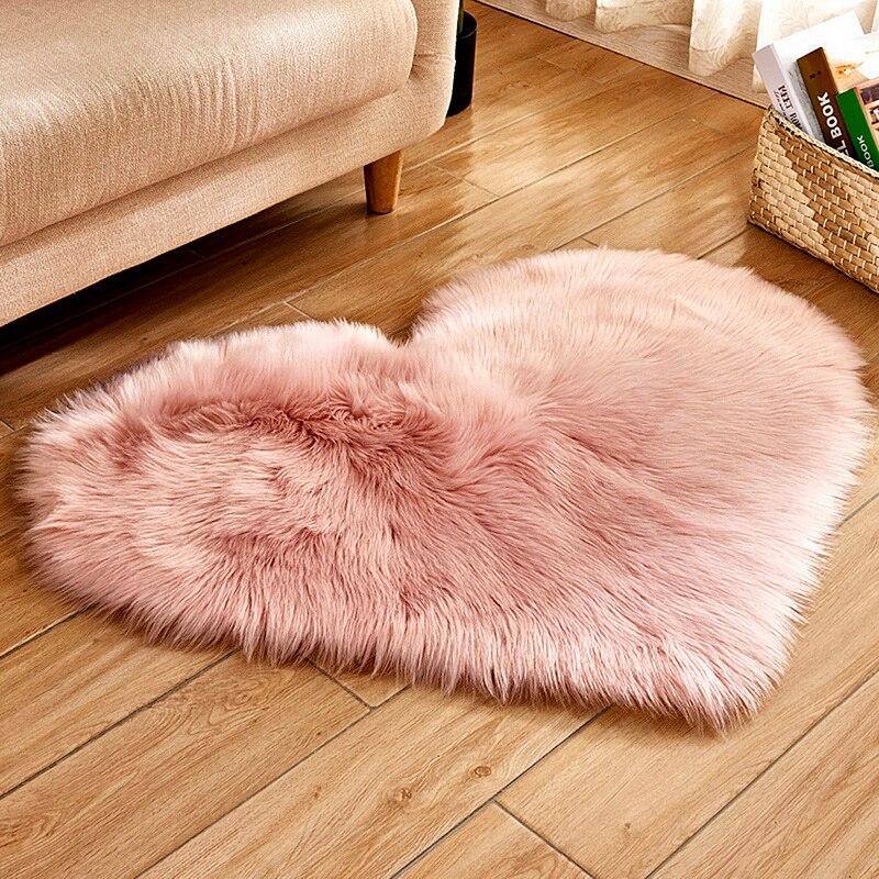 Shaggy Carpet Wool Faux Fluffy Mats Artificial Sheepskin Hairy Mat Love Heart Rugs NO Lint Carpet For Living Room Kid Room