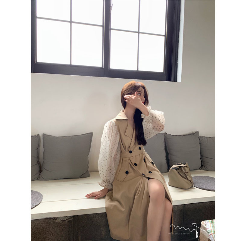 2019 new fashion women's French lantern sleeve   trench   coat double-breasted tide