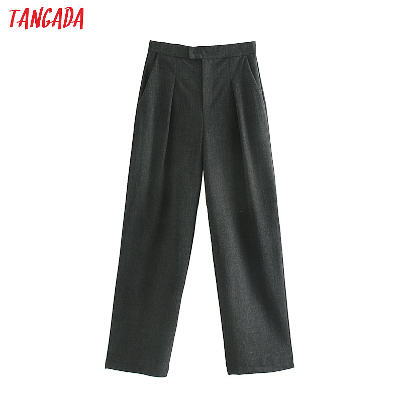 Tangada Women Gray Suit Pants Back Bow Zipper Pockets Vintage Elegant Work Ladies Long Trousers JE68