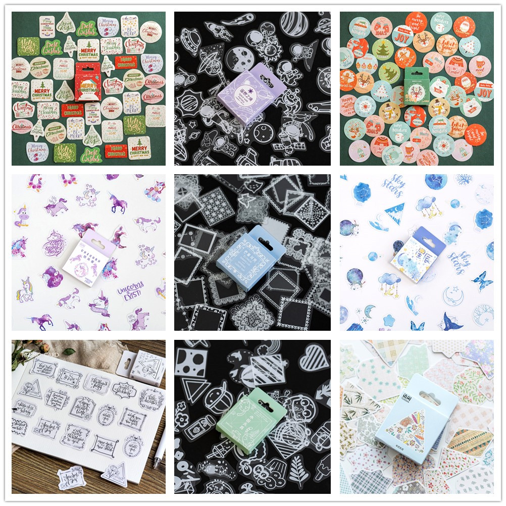 (42 Different Styles) Merry Christmas Paper Stickers DIY Decoration For Album Scrapbooking Washi Tape Vintage Wedding Pegatinas