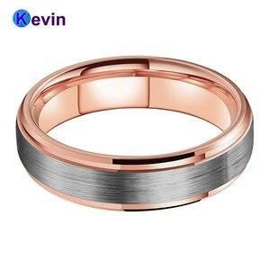 Image 2 - חתונה טבעת רוז זהב טונגסטן טבעת לגברים ונשים להקת 6MM