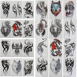 Wolf Scorpion Dragon Waterproof Temporary Tattoo Sticker Wing Cross Flash Tatto Totem Body Art Arm Water Transfer Fake Tatoo Men