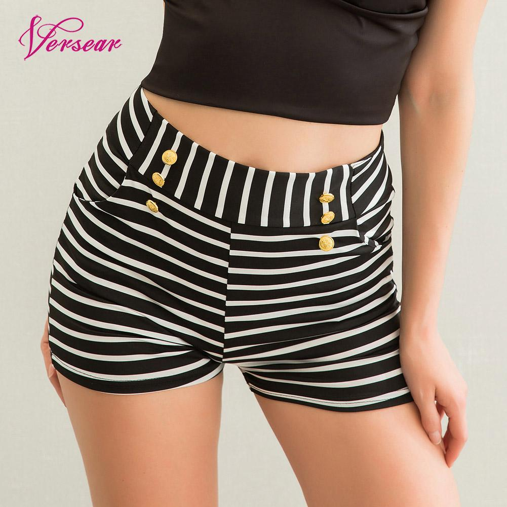 Versear Summer Women   Shorts   Casual Striped   Shorts   High Elastic Waist Ladies Pockets Workout Skinny   Short   Feminino