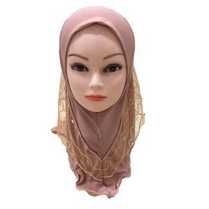 Image 2 - One Piece Amira Muslim Kids Girls Mesh Hat Headscarf Shawl Wrap Islamic Prayer Hijab Ramadan Cover Headwear Caps Middle East