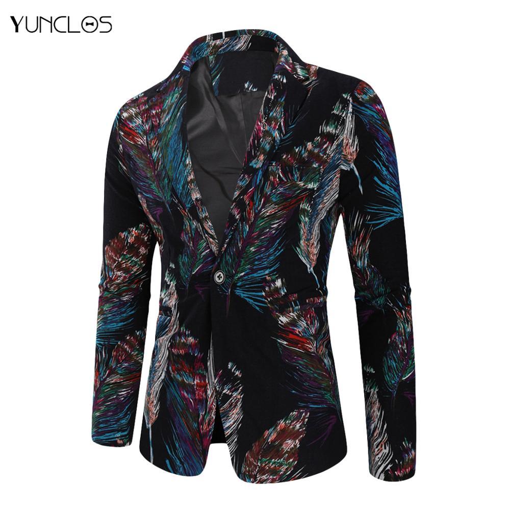 YUNCLOS Autumn Winter Men's Fashion Suit Men's Casual Blazer Coat Men Flowers Print Jacket Tops Vintage Men Clothing