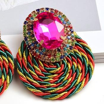 Colorful Crystal High-quality Rhinestone Handmade Round Drop Earrings 5