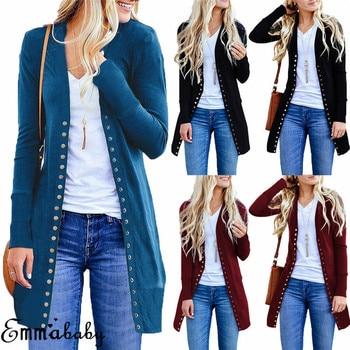 Women Fall Autumn Long Sleeve Knitted Cardigan Sweater Jackets Coats Tops Outwear Warm Casual Button Solid Long Jackets Outwear