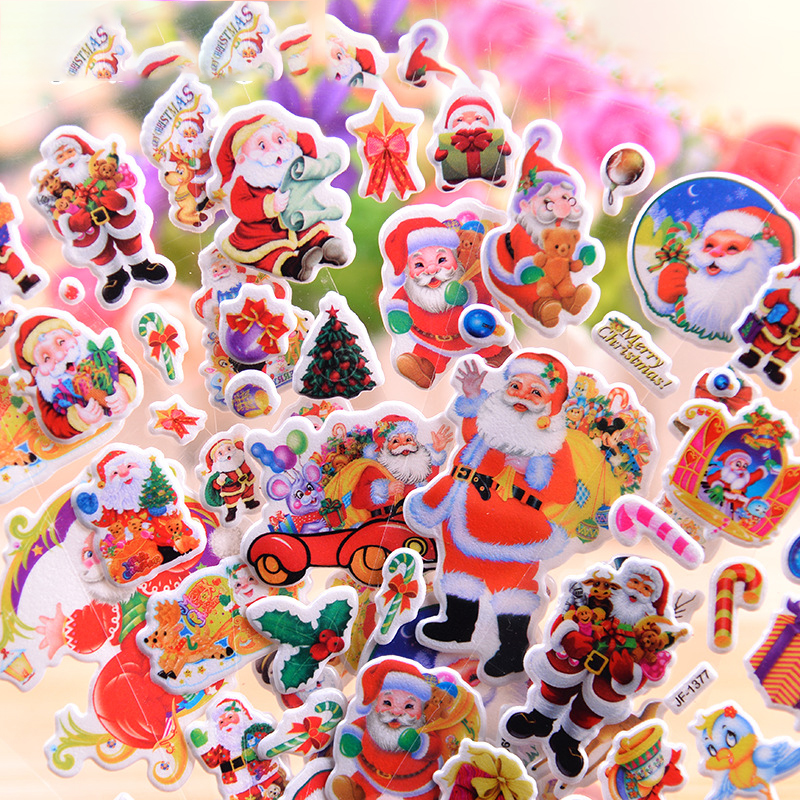 1 Sheet Kawaii 3D Santa Claus Stickers Cute Christmas Stickers Lovely Decorative Stickers For Kids Scrapbooking DIY Diary Album