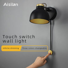 LED wall lamp minimalist bedside lamp Infinite dimming for living room bedroom corridor setting wall light(China)