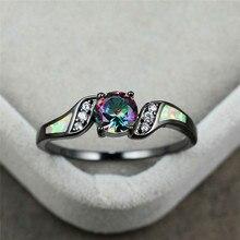 цена Boho Female Small Rainbow Round Ring Vintage Black Gold Wedding Rings For Women Promise White Fire Opal Engagement Ring онлайн в 2017 году