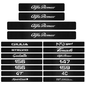 4 шт. наклейки на порог двери автомобиля из углеродного волокна для alfa romeo 159 147 156 giulietta GT mito Giulia Stelvio Tonale Sportiva