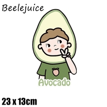 24pcs Avocado Iron on Patches Cute Small Animal Transfer for Clothes Stickers Letter Badges Washable DIY T-shirt  decorations