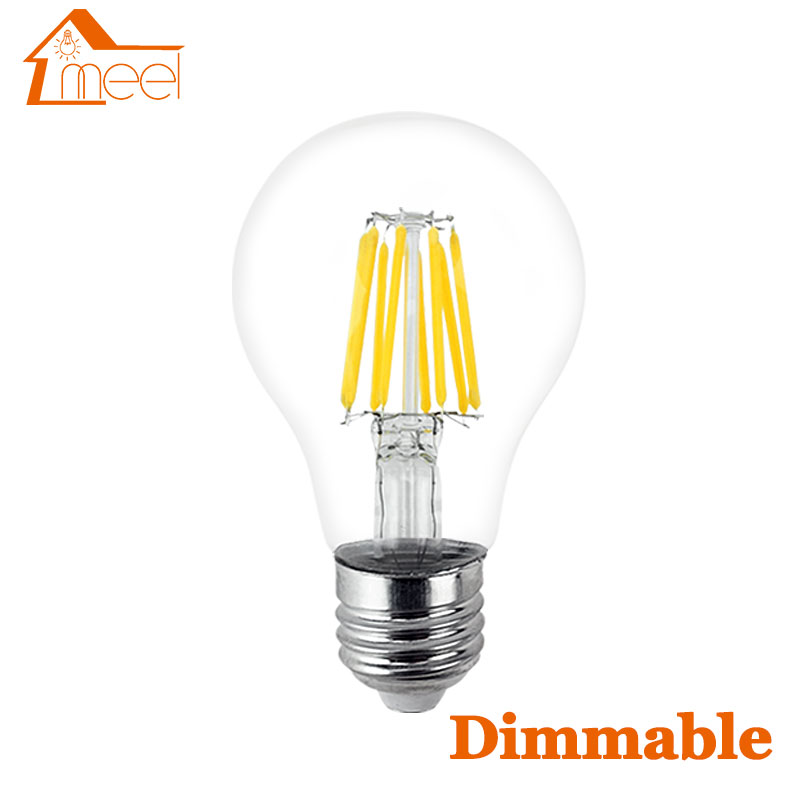 220V 240V LED Edison Bulb Dimmable E27 A60 Glass Housing Lamp Antique Retro Vintage Edison LED Filament Light Lamp 2W 4W 6W 8W
