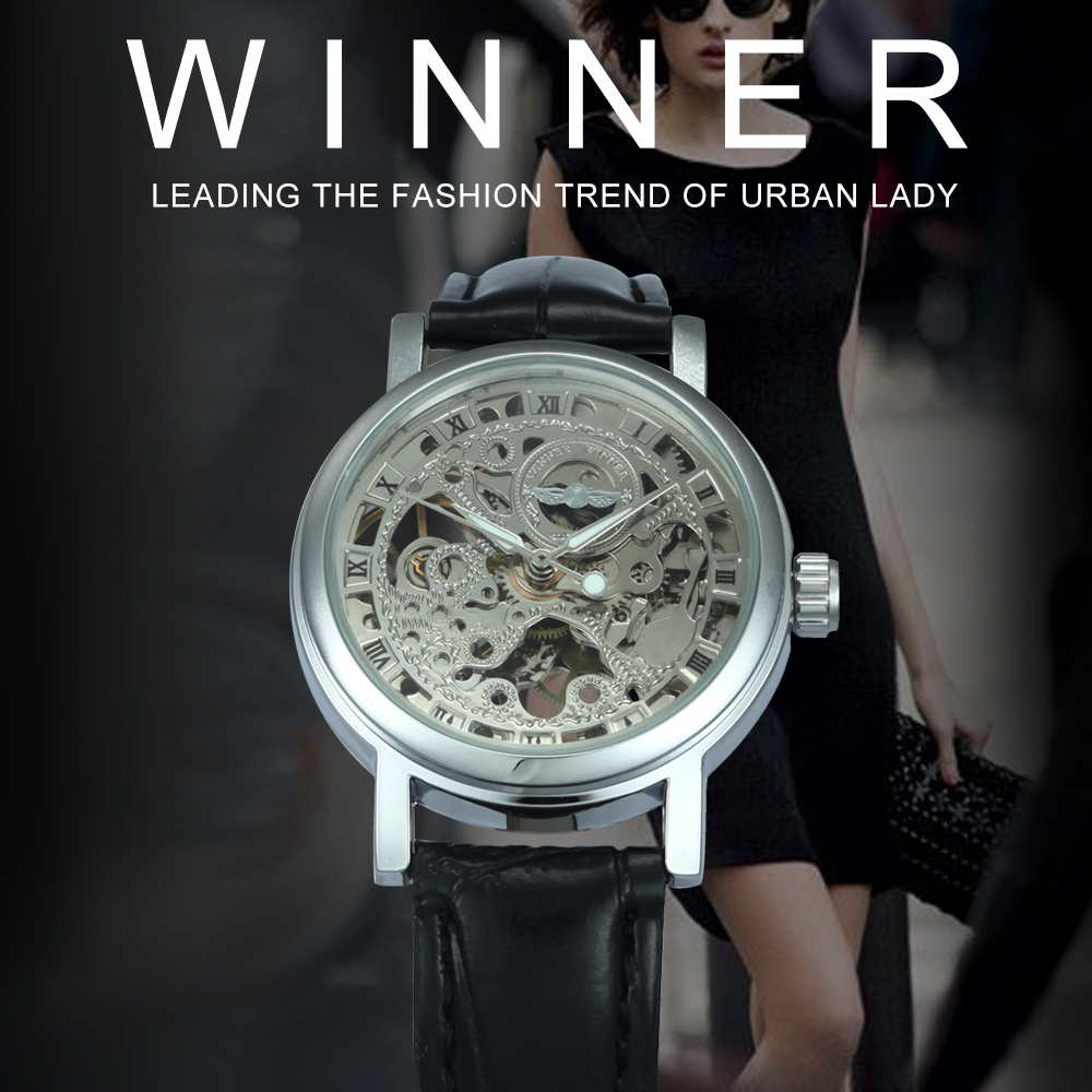 2019 WINNER Vintage Women Watches Mechanical Ladies Watch Leather Strap Skeleton Golden Dial Luminous Hands Fashion Wristwatches