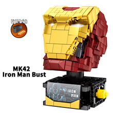 Marvel Avenger Super Heroes MK42 Iron Man Bust light bricks with mk42 minifigs building blocks toys for children gift single sale modok george tarleton from hulk lab smash set building blocks super heroes bricks action toys for children kf918