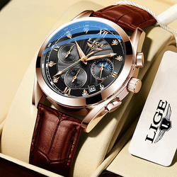 LIGE 2020 NEW Top Brand Luxury Mens Watches Male Clocks Date Sport Military Clock Leather Strap Quartz Business Men Watch Gift