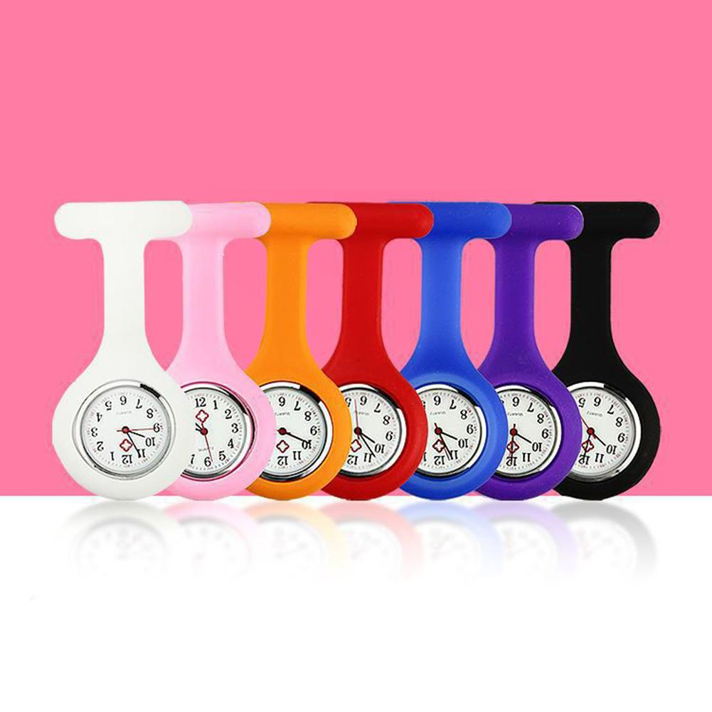 New Solid Color Clip-On Analog Digital Brooch Fob Medical Nurse Pocket Watch Gift Batteries Medical Quartz Watch Decor Accessory