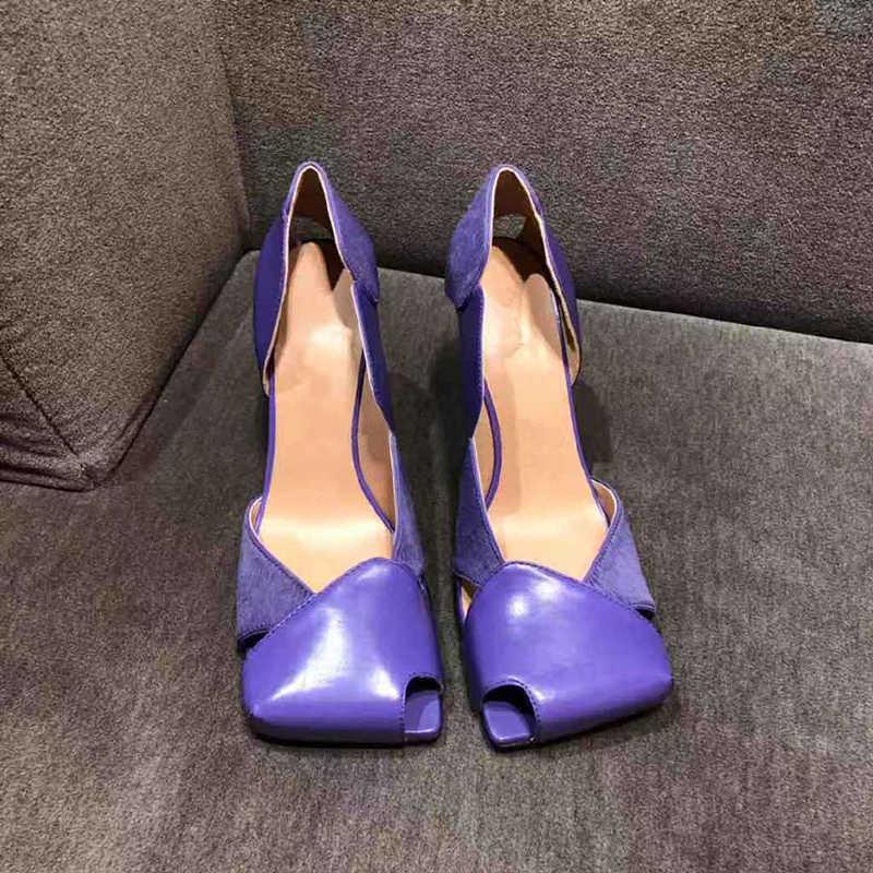 ハイヒールの靴女性春正方形のつま先は女性中空 Sapato Feminino 2020 女性の靴のファッション Buty Damskie セクシーな靴