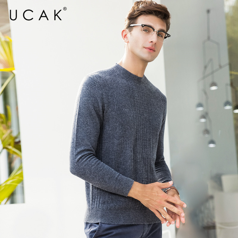 UCAK Brand Pure Merino Wool Sweater Men Pull Homme Casual O-Neck Pullover Men Clothes Autumn Winter Warm Cashmere Sweaters U3075