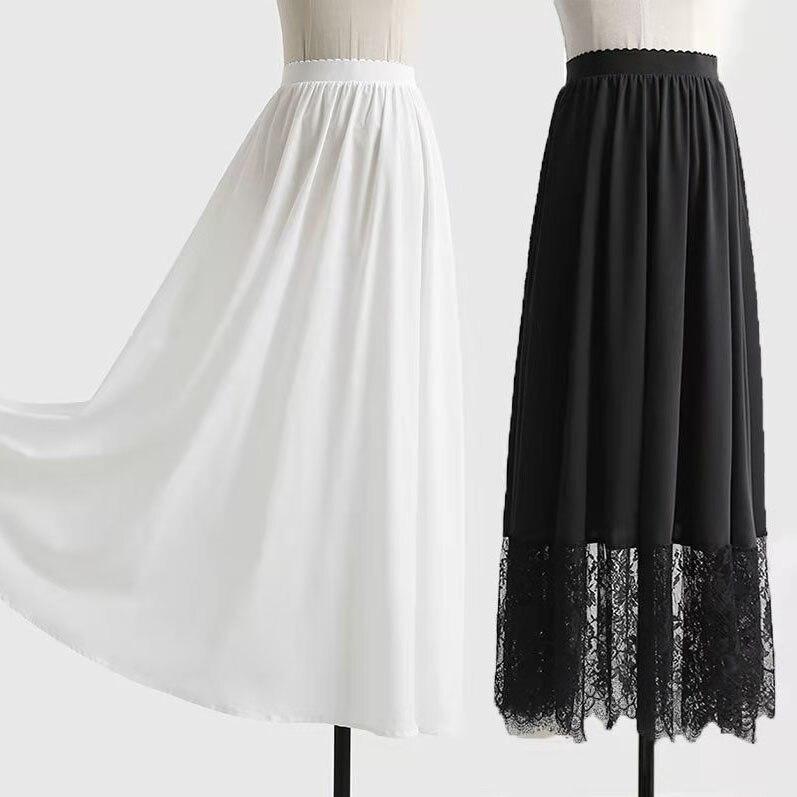 Estilo chino de talle alto forro falda largo plisado falda Maxi Fondo damas blanco negro falda de encaje para Hanfu